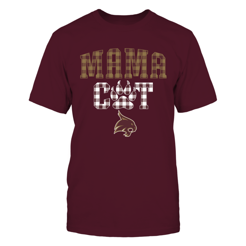 Texas State Bobcats - Mama Cat - Paw - Checkered Pattern Front picture