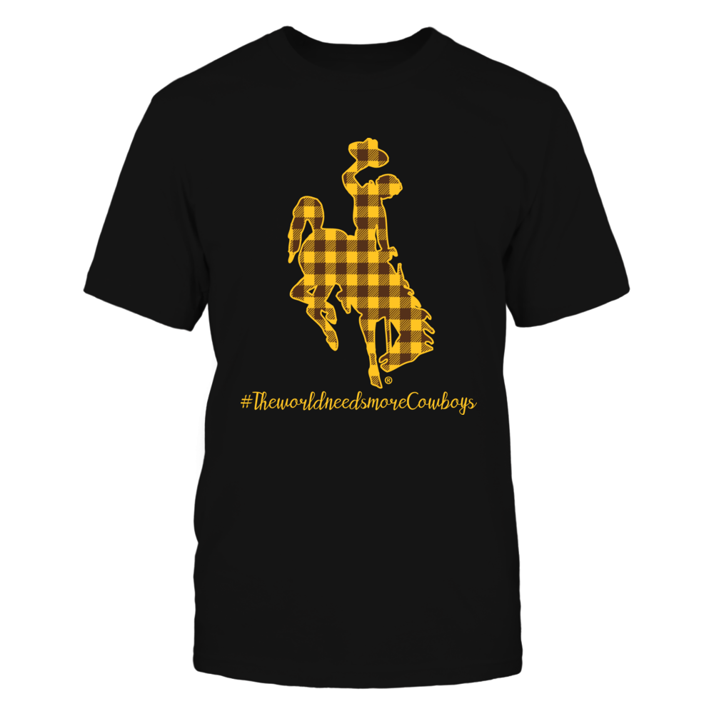 Wyoming Cowboys - Checkered Pattern Logo - The World Needs More Cowboys Front picture