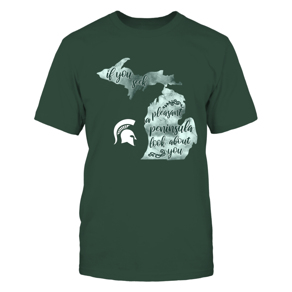 Michigan State Spartans - State Song Inside State Map - Michigan Front picture