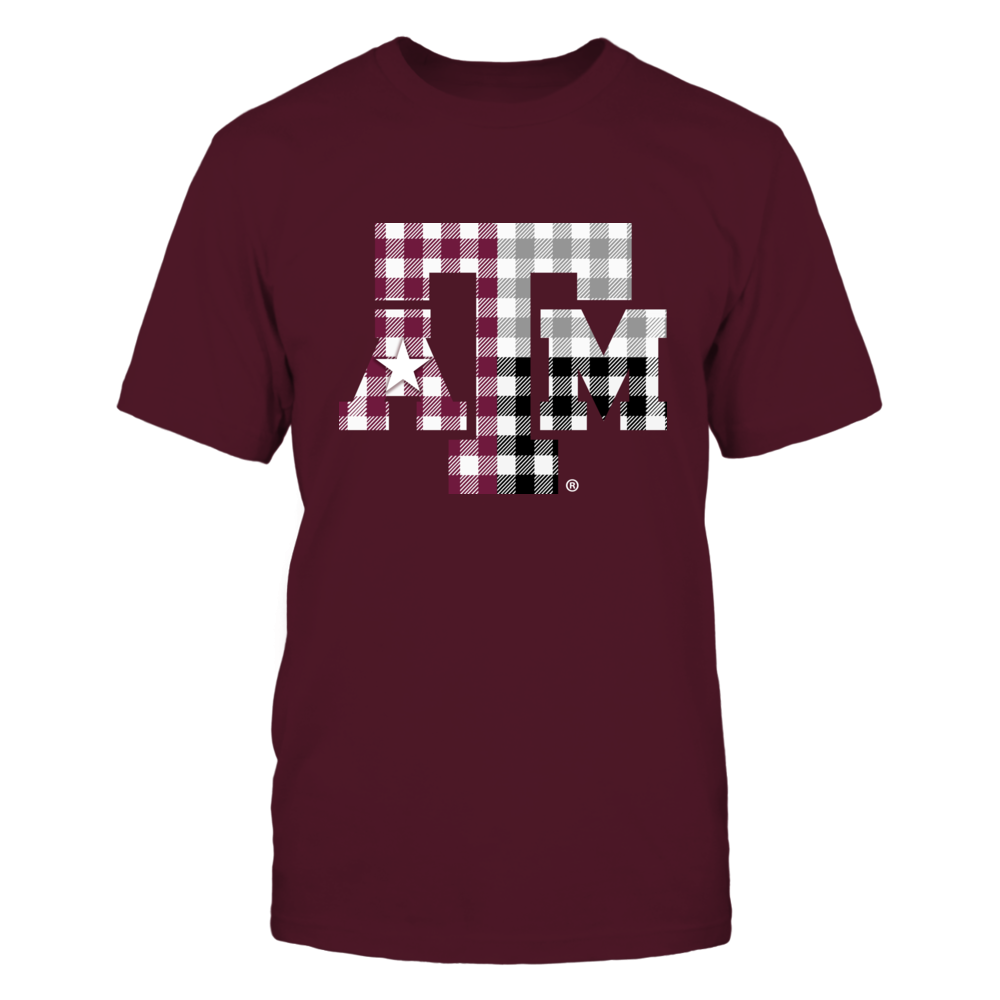 Texas A&M Aggies - Texas Logo Checkered Pattern Front picture