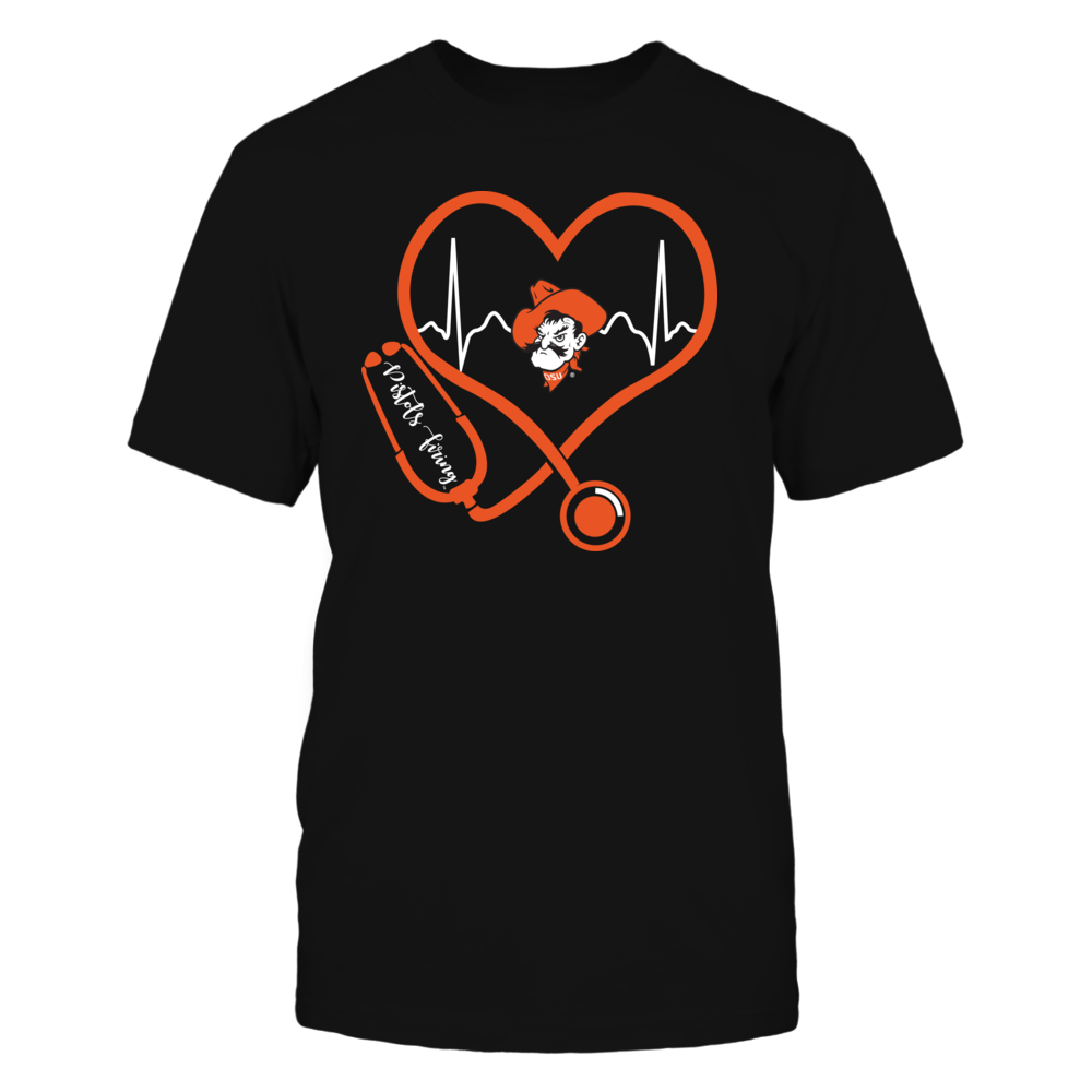 Oklahoma State Cowboys - Nurse - Heart Stethoscope Heartbeat Front picture