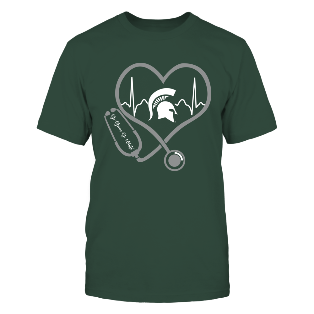 Michigan State Spartans - Nurse - Heart Stethoscope Heartbeat Front picture