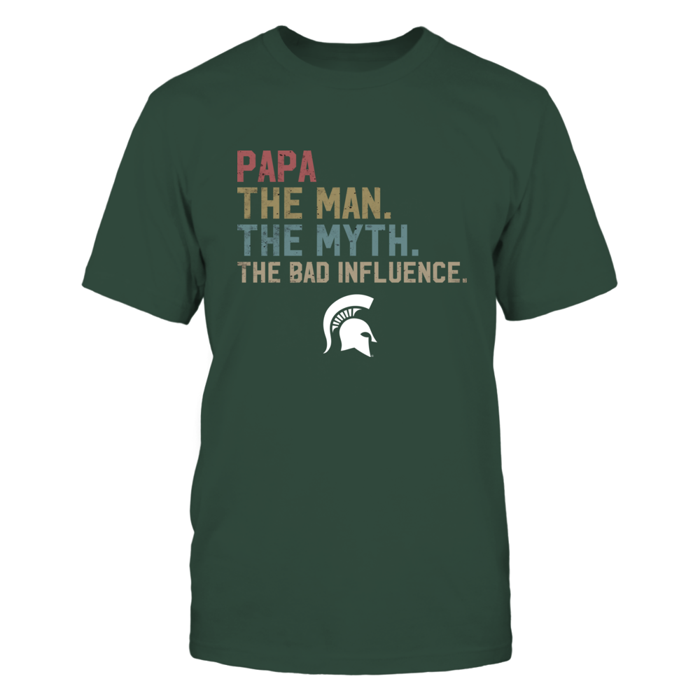 Michigan State Spartans - The Man The Myth The Bad Influence Retro Style Front picture