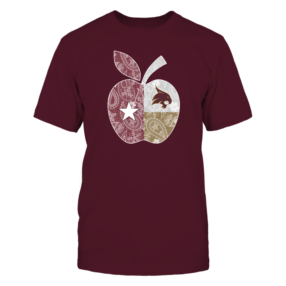 Texas State Bobcats - Teacher - Paisley Apple State Flag Front picture
