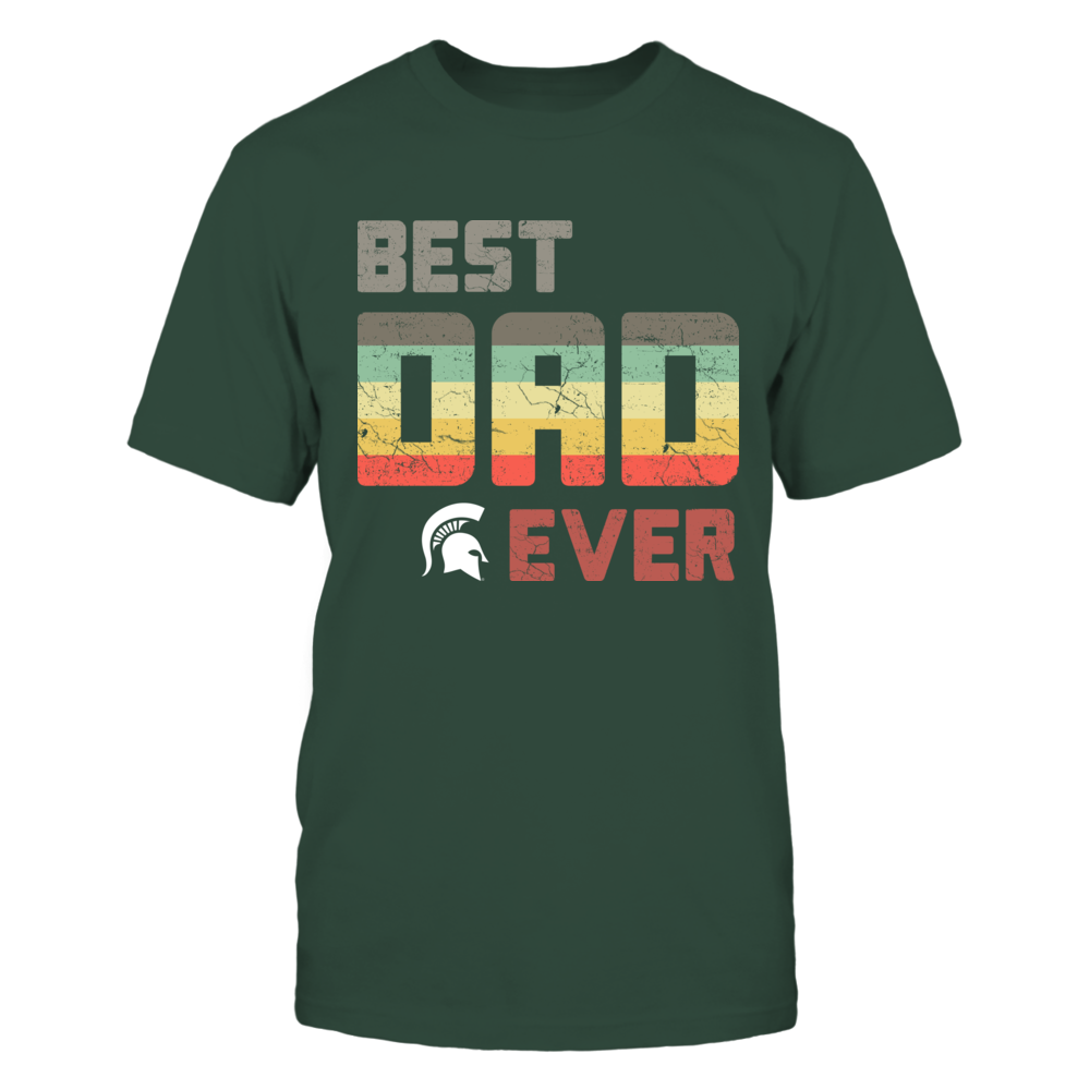 Michigan State Spartans - Best Dad Ever - Retro Stripes Front picture
