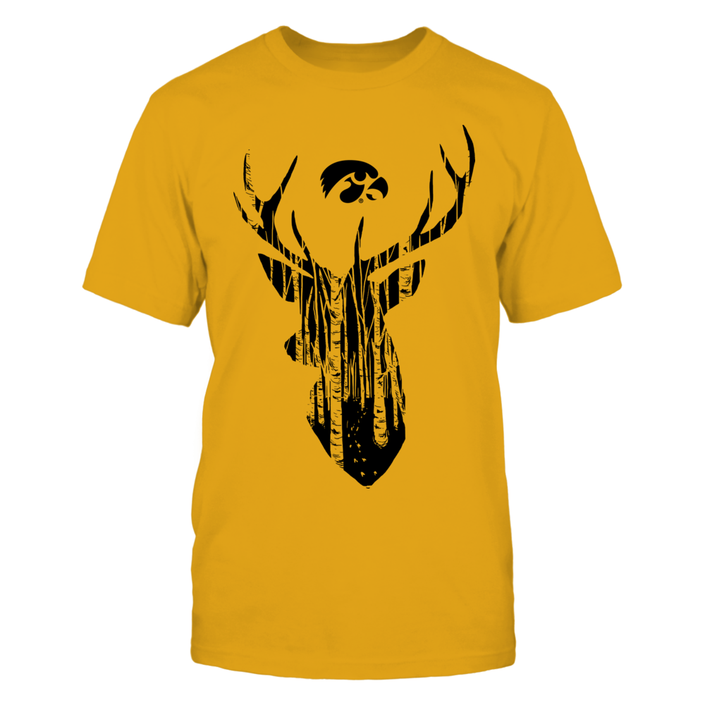Iowa Hawkeyes - Hunting Forest Deer - Gold Shirt Front picture