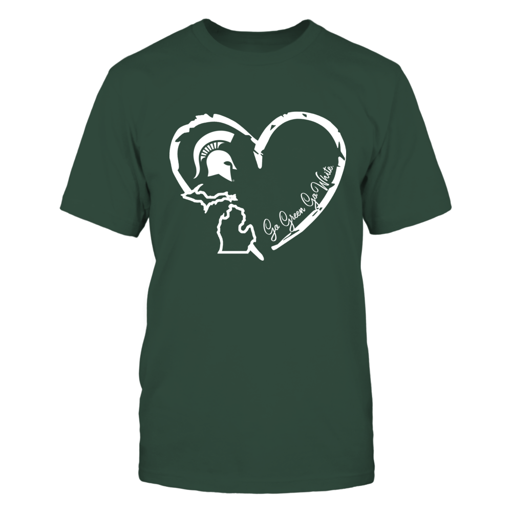 Michigan State Spartans - Heart Outline State Front picture