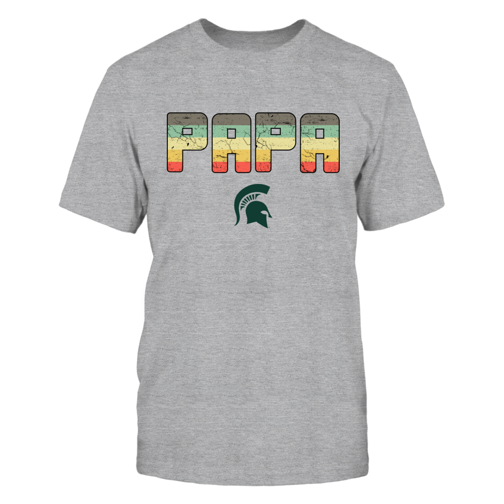 Michigan State Spartans - Papa Vintage Graphic - Grey Shirt Front picture