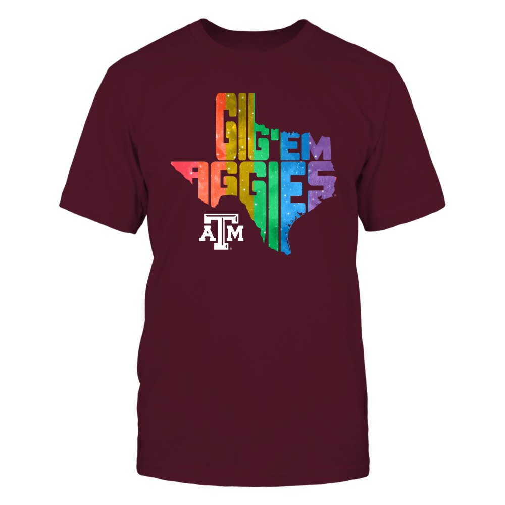 Texas A&M Aggies - Pride Month - Slogan State Map Front picture