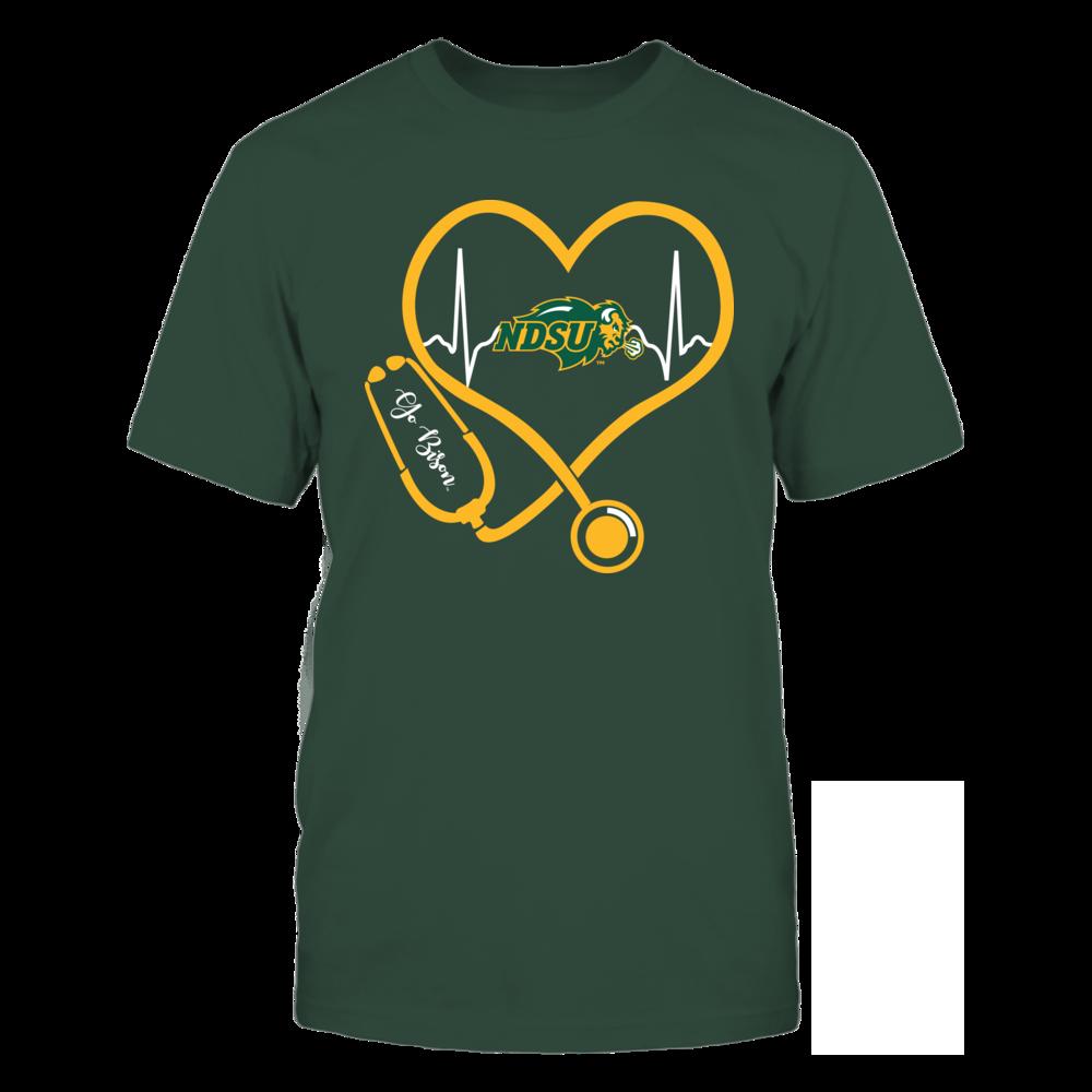 North Dakota State Bison - Nurse - Heart Stethoscope Heartbeat Front picture