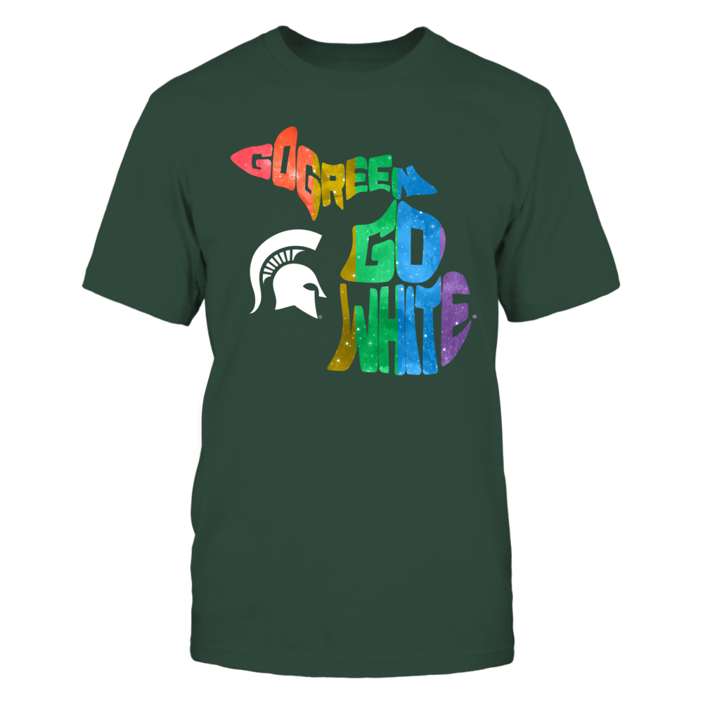 Michigan State Spartans - Pride Month - Slogan State Map Front picture