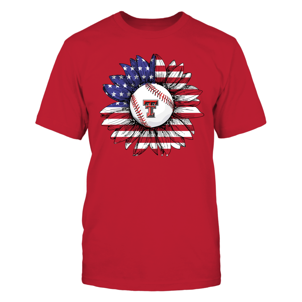 Texas Tech Red Raiders - Independence Day - Nation Flag Pattern Sunflower Baseball Front picture