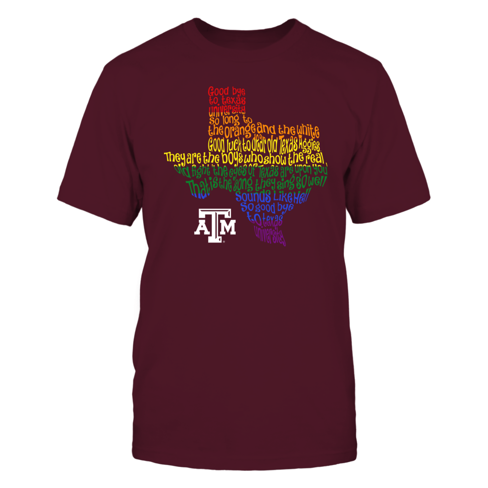 Texas A&M Aggies - Pride Month - Fight Song Inside State Map Front picture