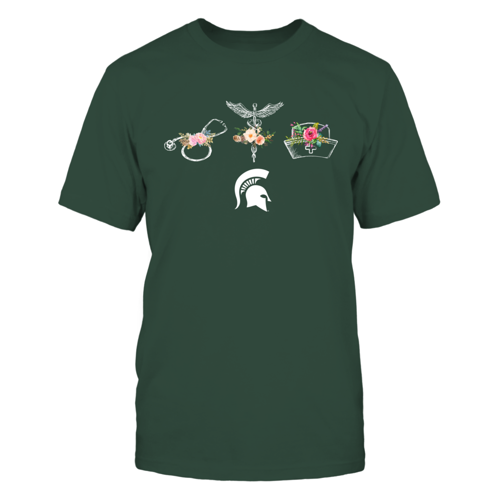 Michigan State Spartans - Nurse - Floral Things - Nurse Things Front picture