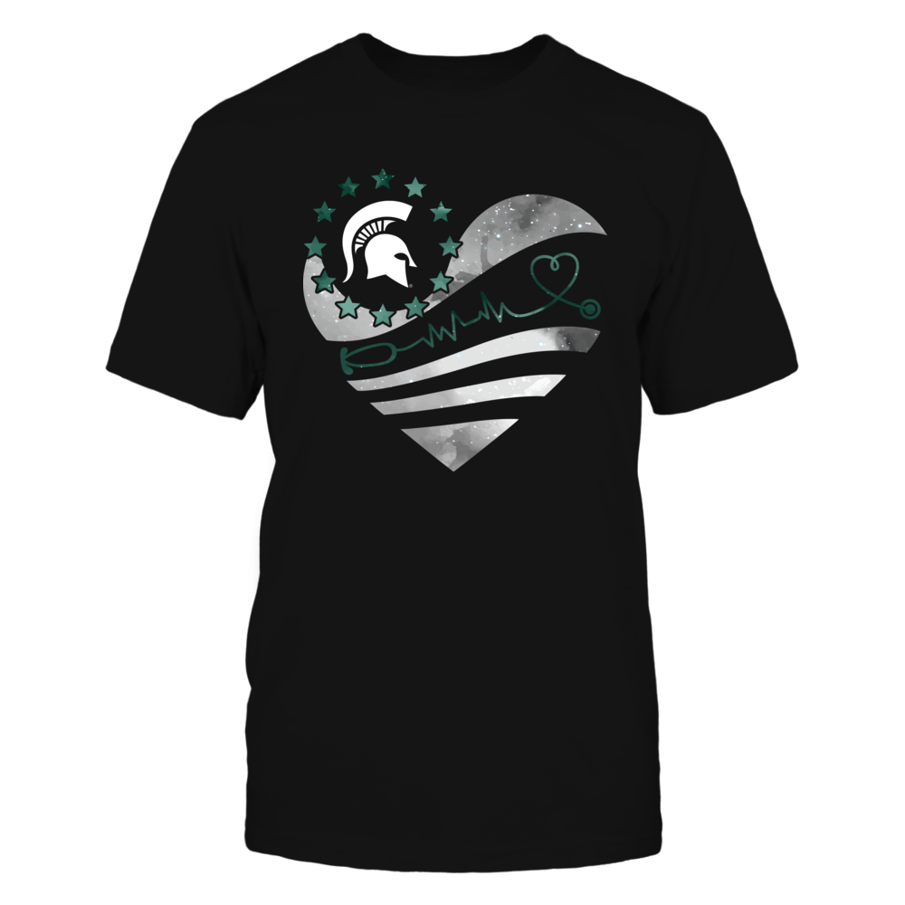 Michigan State Spartans - Nurse - Galaxy Flag Heart - Stethoscope Front picture
