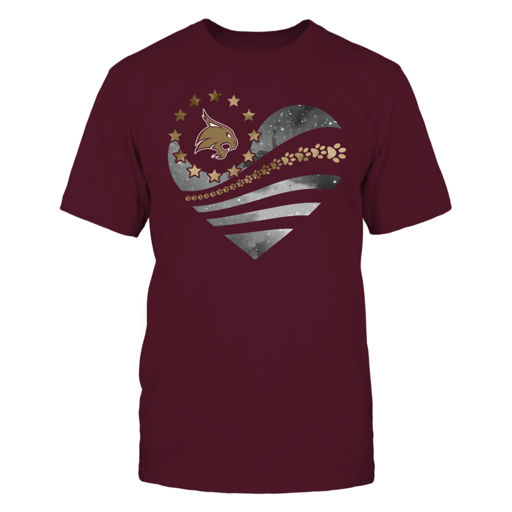 Texas State Bobcats - Galaxy Flag Heart - Paw Front picture