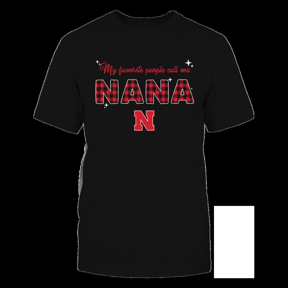 Nebraska Cornhuskers - My Favorite People Call Me Nana - Checkered Pattern Front picture