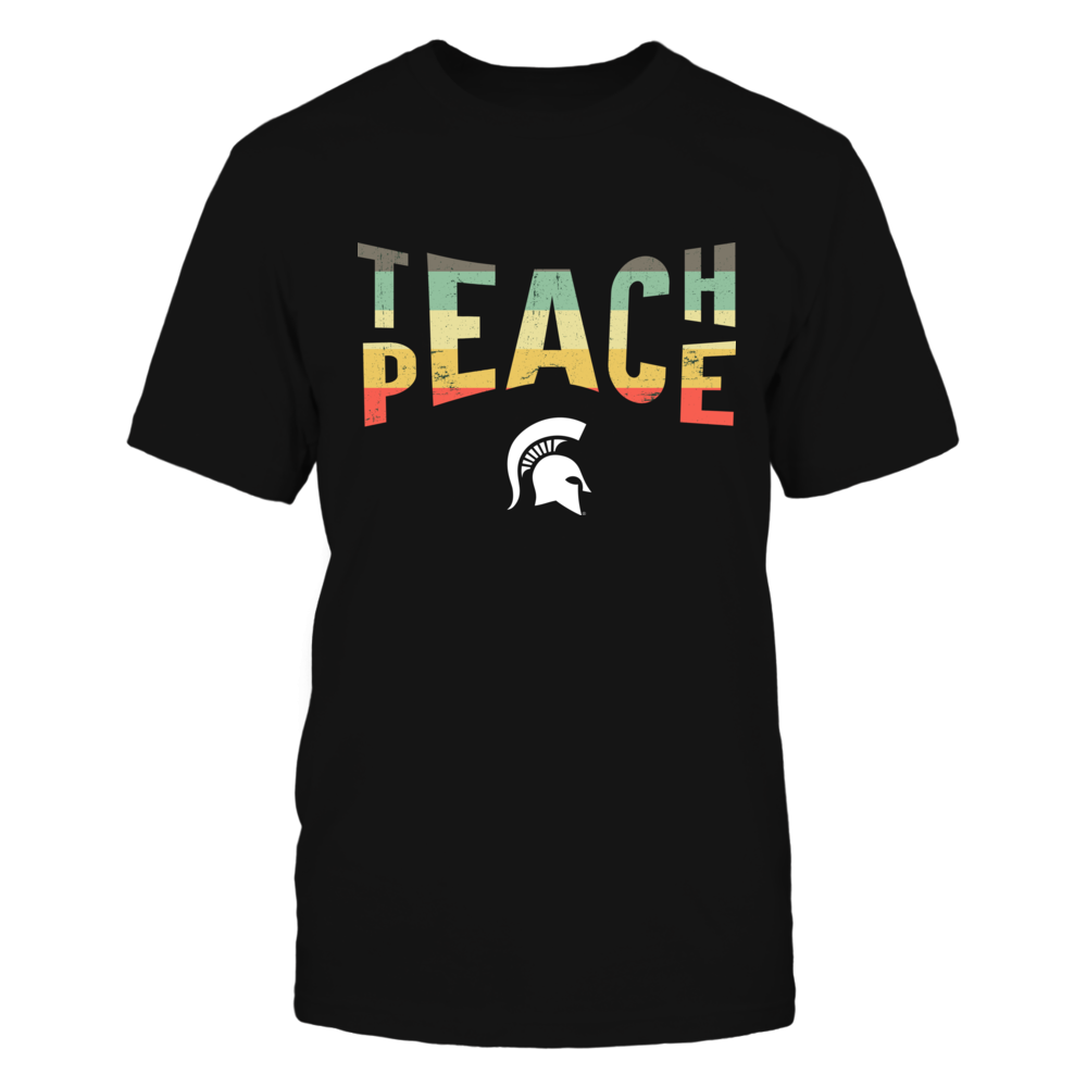 Michigan State Spartans - Teacher - Teach And Peace Vintage Graphic Front picture