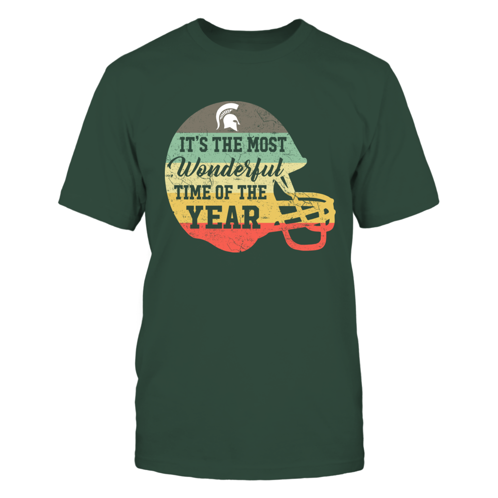 Michigan State Spartans - Most Wonderful Time - Vintage Graphic Football Helmet Front picture