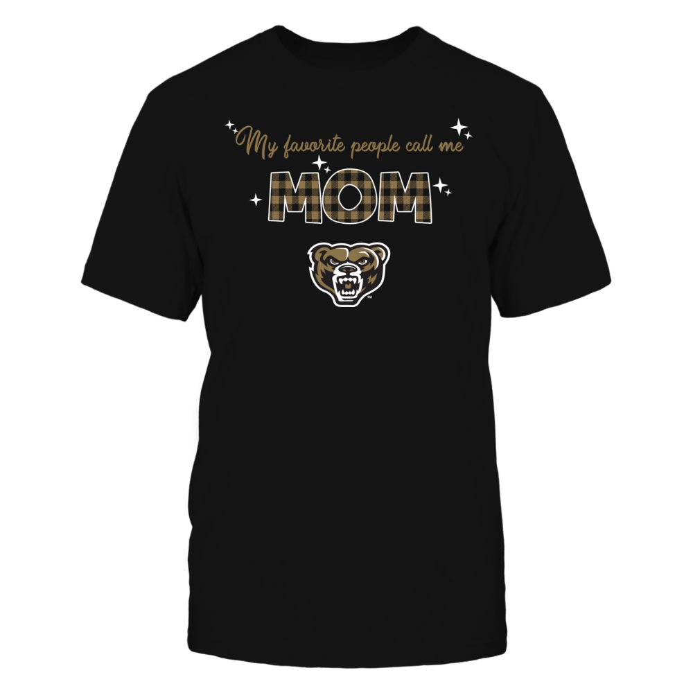 Oakland Golden Grizzlies - My Favorite People Call Me MOM - Checkered Pattern Front picture