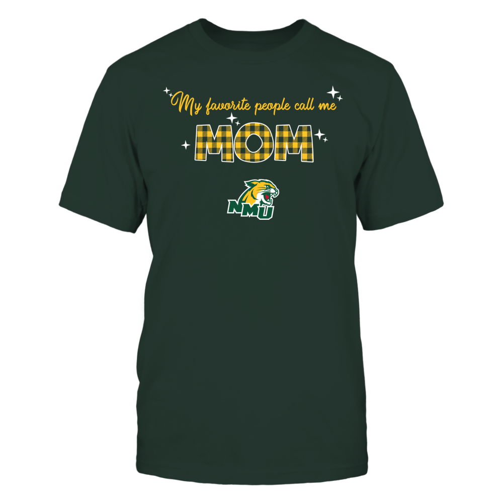 Northern Michigan Wildcats - My Favorite People Call Me MOM - Checkered Pattern Front picture