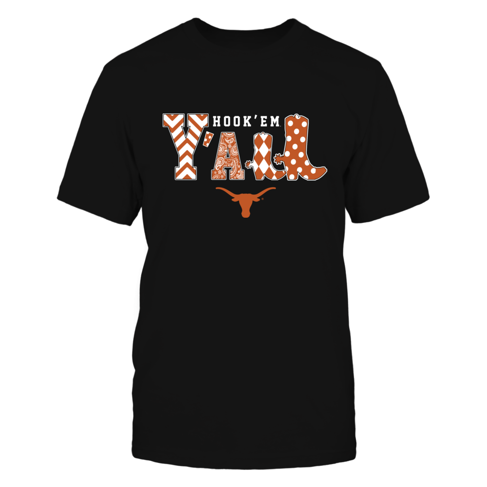 Texas Longhorns - Team Slogan - Y'all - Boots - Patterned - IF-IC13-DS63 Front picture