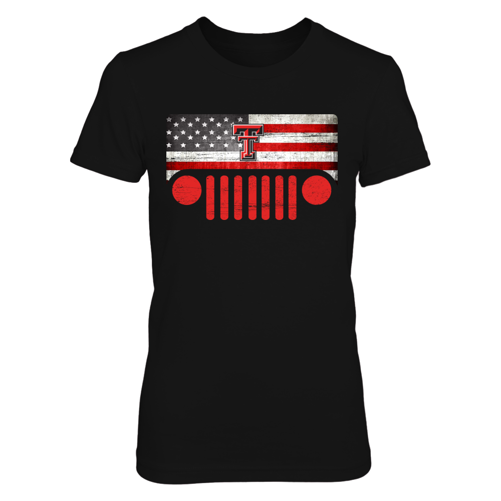 Texas Tech Red Raiders - Jeep - Jeep Logo - Nation Flag Front picture