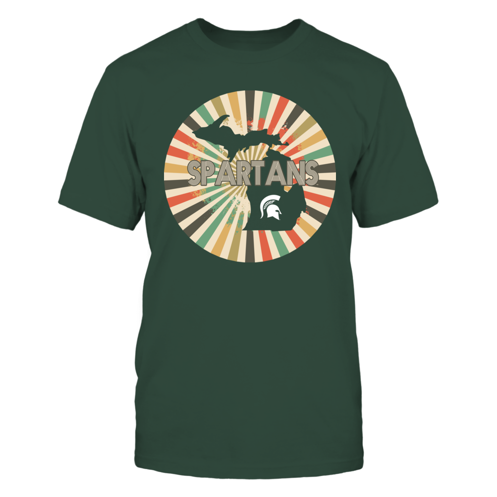 Michigan State Spartans - Retro Stripes Circle - State Map Front picture