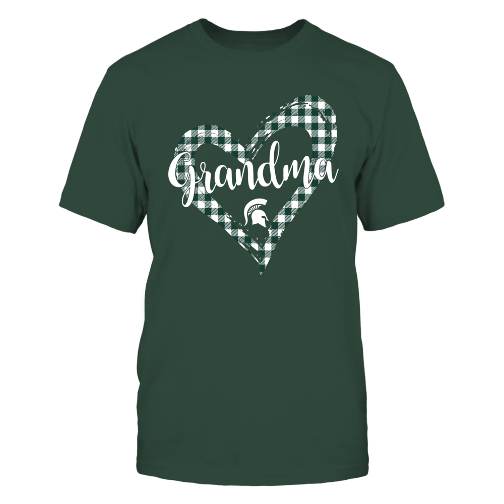 Michigan State Spartans - Checkered Heart Outline - Grandma Front picture