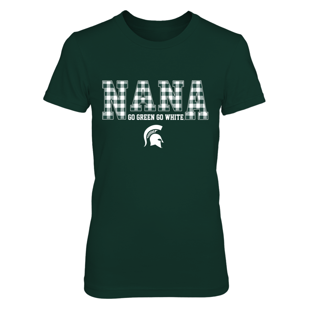 Michigan State Spartans - Two Lines - Checkered Patterned - Nana - Slogan Front picture
