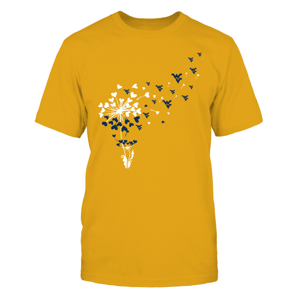 West Virginia Mountaineers - Dandelion - Logo - Team Color - Gold Shirt - IF-IC13-DS45 Front picture