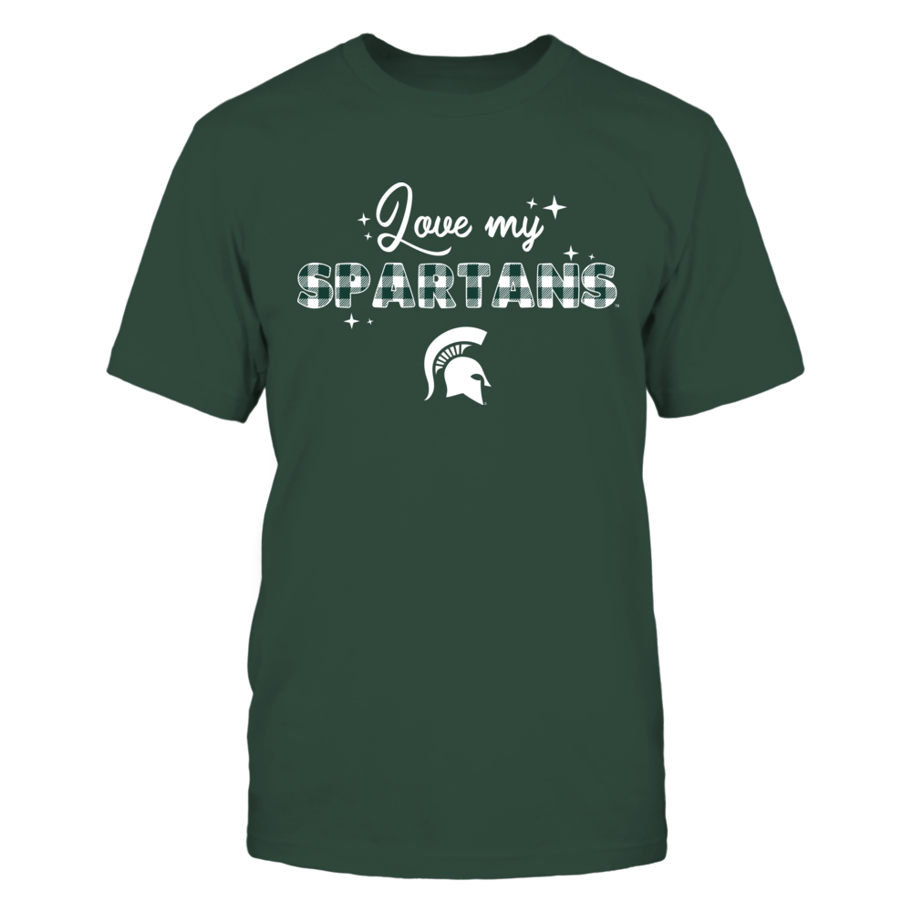 Michigan State Spartans - Love My Team - Sparkling Checkered Pattern Front picture