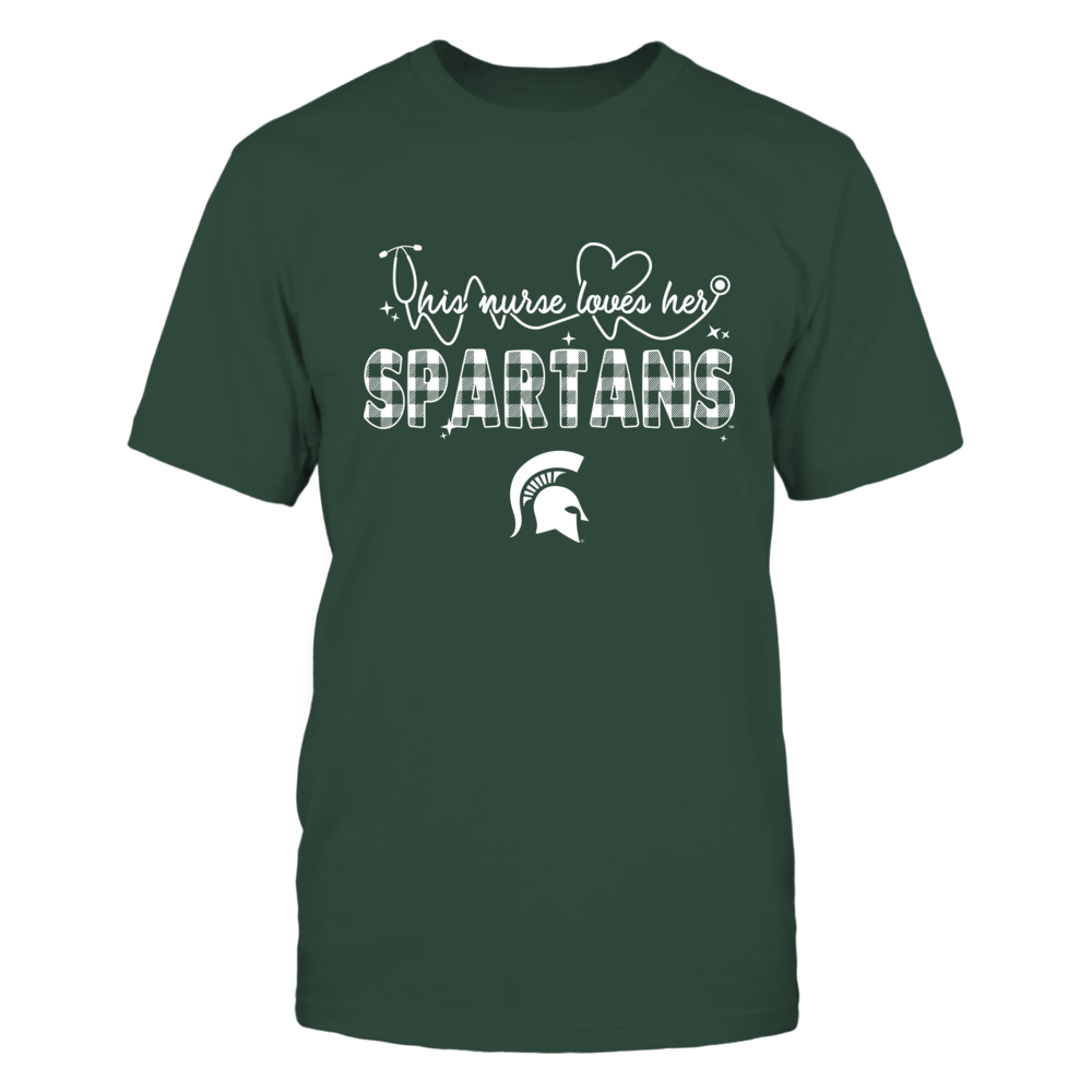 Michigan State Spartans - Nurse - This Woman Loves Team - Checkered Pattern Front picture