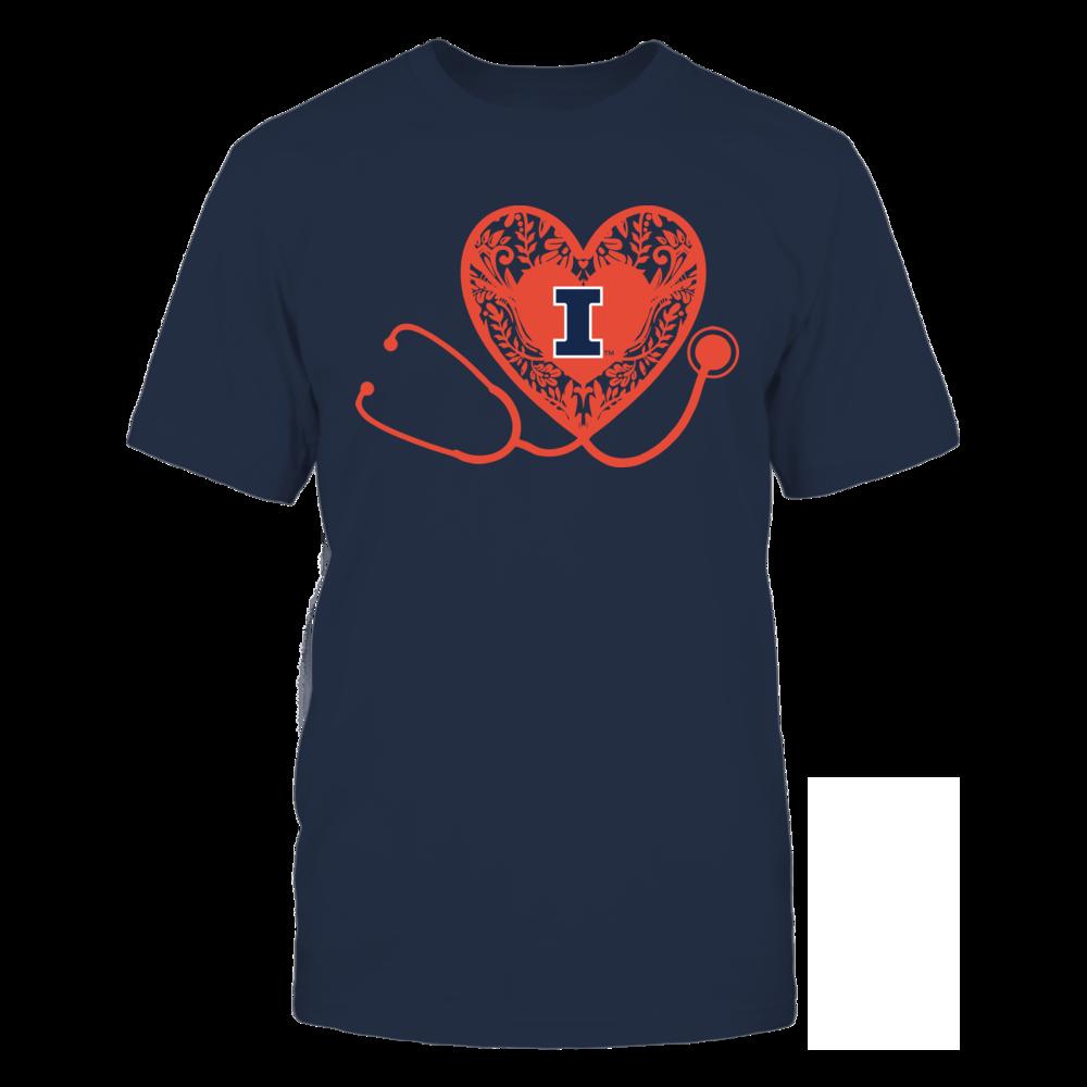 Illinois Fighting Illini - Nurse - Floral Pattern - Stethoscope Front picture