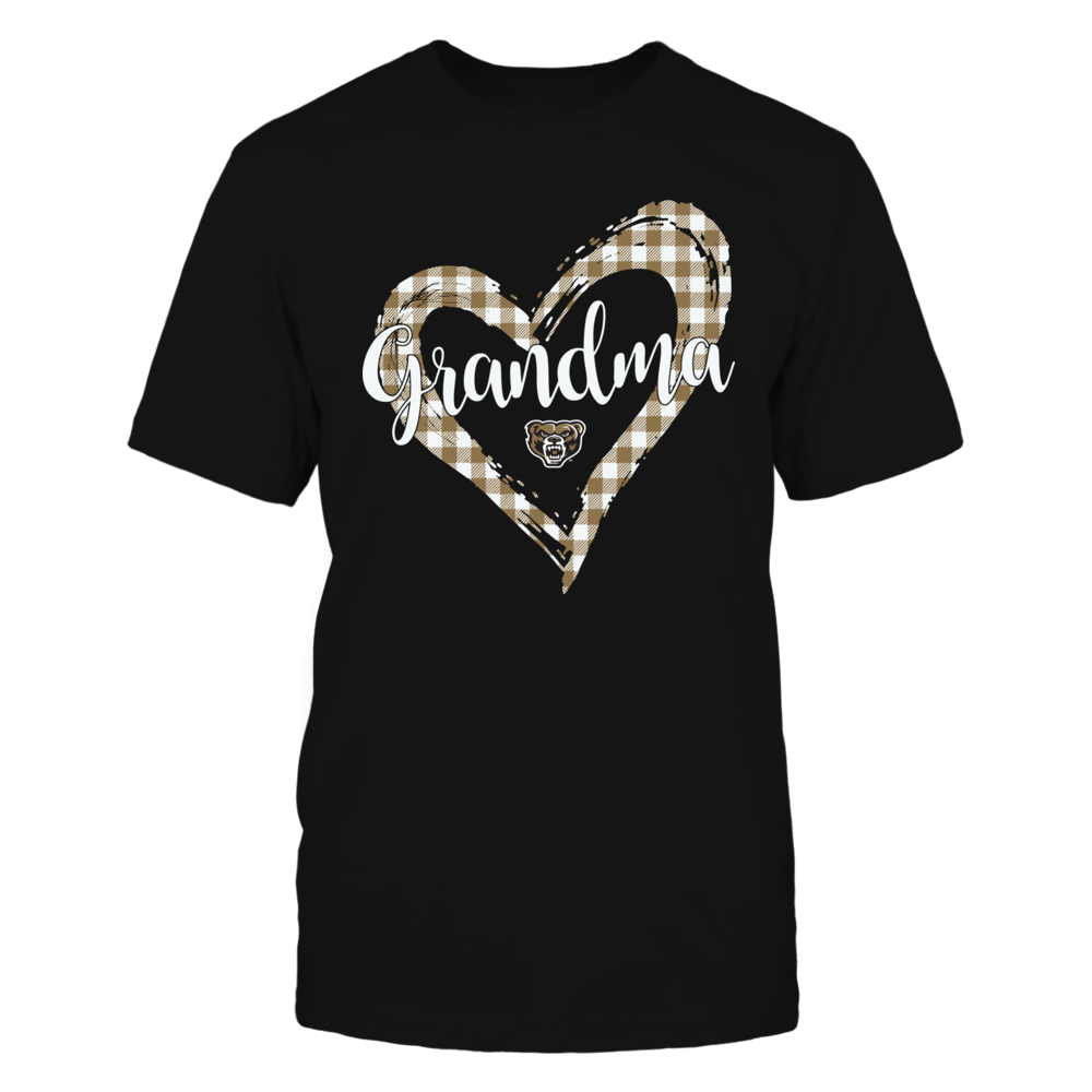 Oakland Golden Grizzlies - Checkered Heart Outline - Grandma Front picture