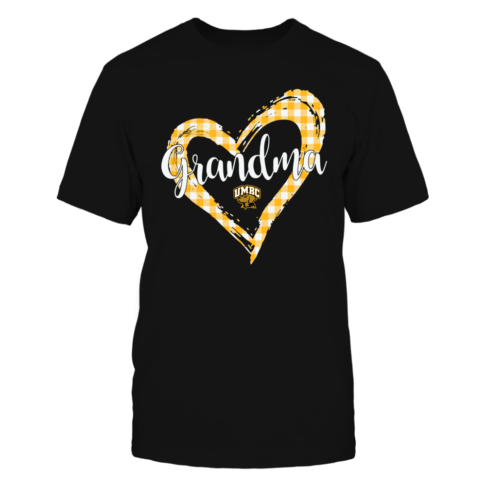UMBC Retrievers - Checkered Heart Outline - Grandma Front picture