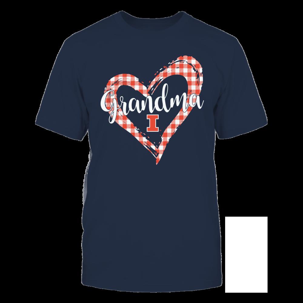 Illinois Fighting Illini - Checkered Heart Outline - Grandma Front picture