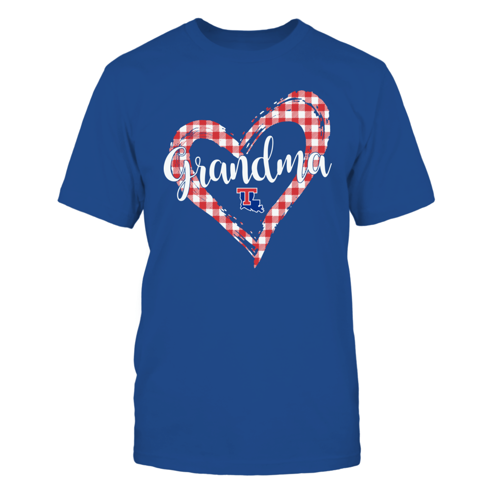 Louisiana Tech Bulldogs - Checkered Heart Outline - Grandma Front picture