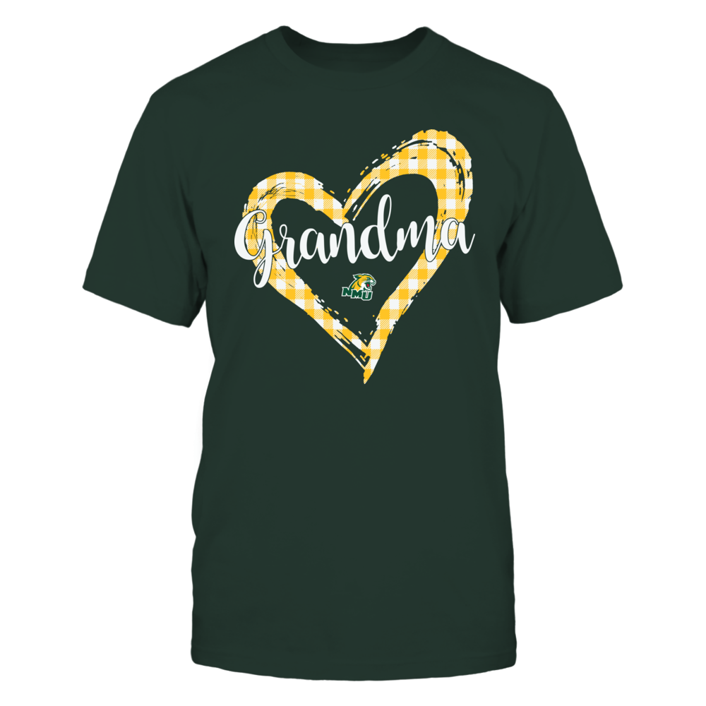 Northern Michigan Wildcats - Checkered Heart Outline - Grandma Front picture