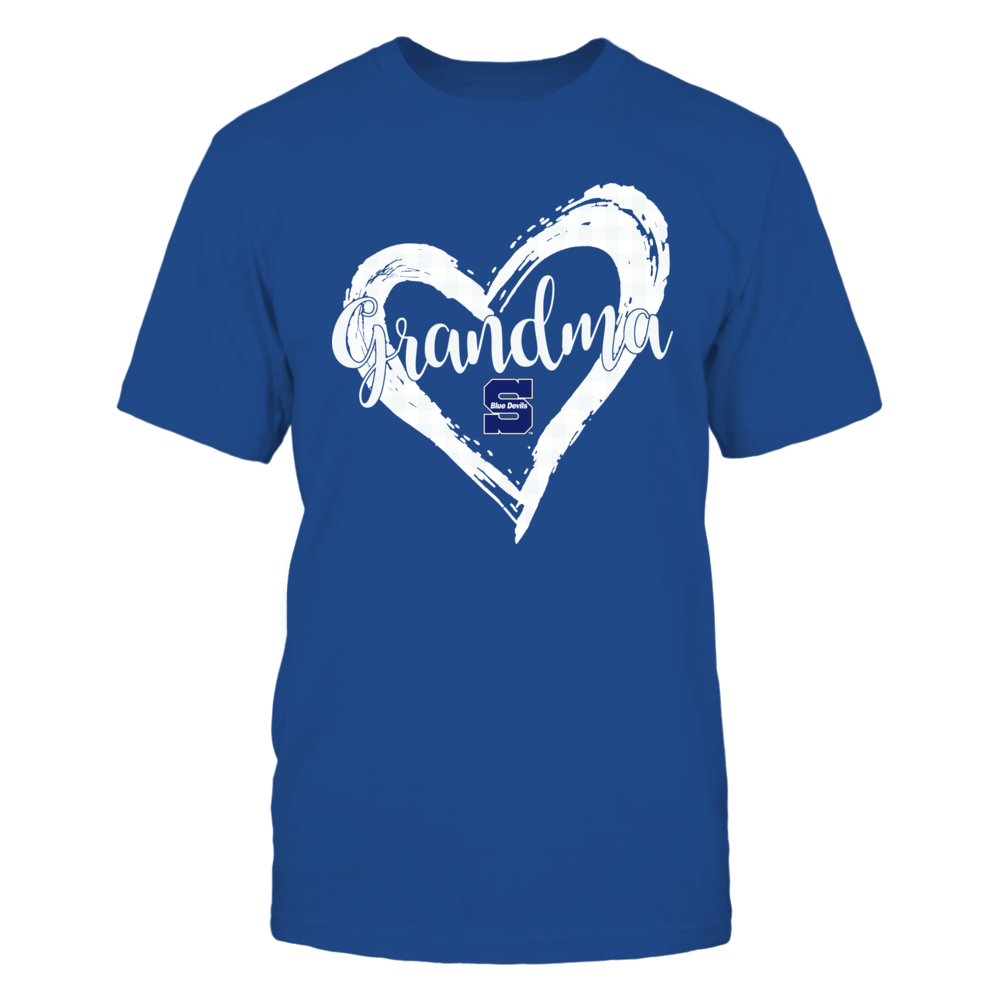 Wisconsin Stout Blue Devils - Checkered Heart Outline - Grandma Front picture