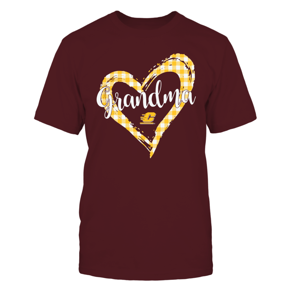 Central Michigan Chippewas - Checkered Heart Outline - Grandma Front picture
