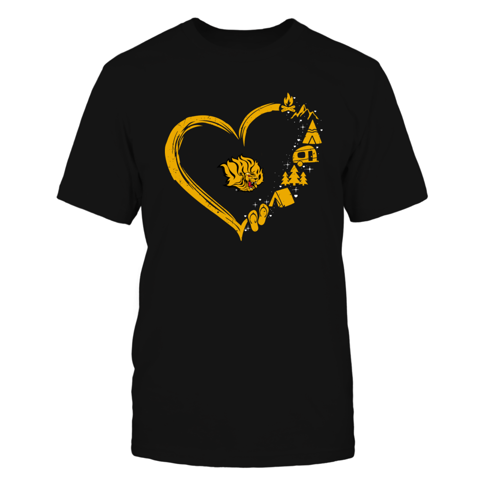 Arkansas Pine Bluff Golden Lions - Camping Things - Heart Outline Front picture