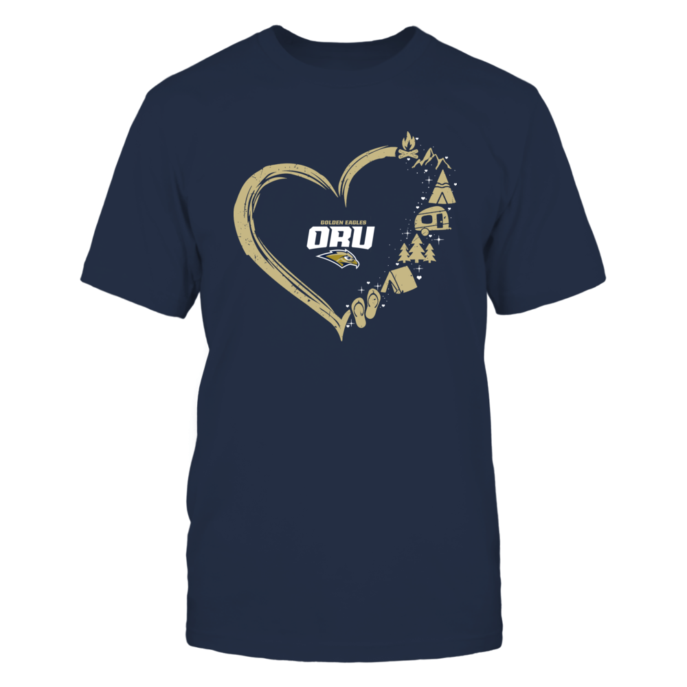 Oral Roberts Golden Eagles - Camping Things - Heart Outline Front picture