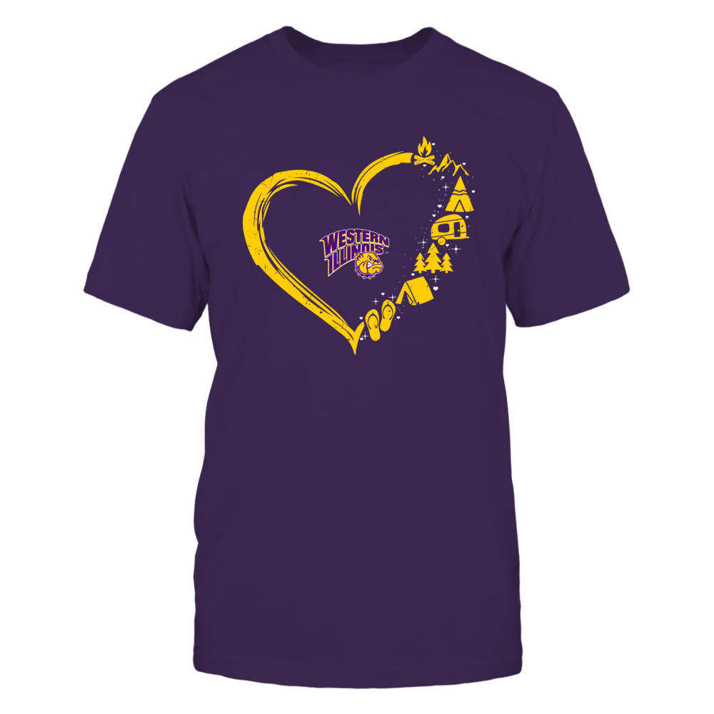 Western Illinois Leathernecks - Camping Things - Heart Outline Front picture