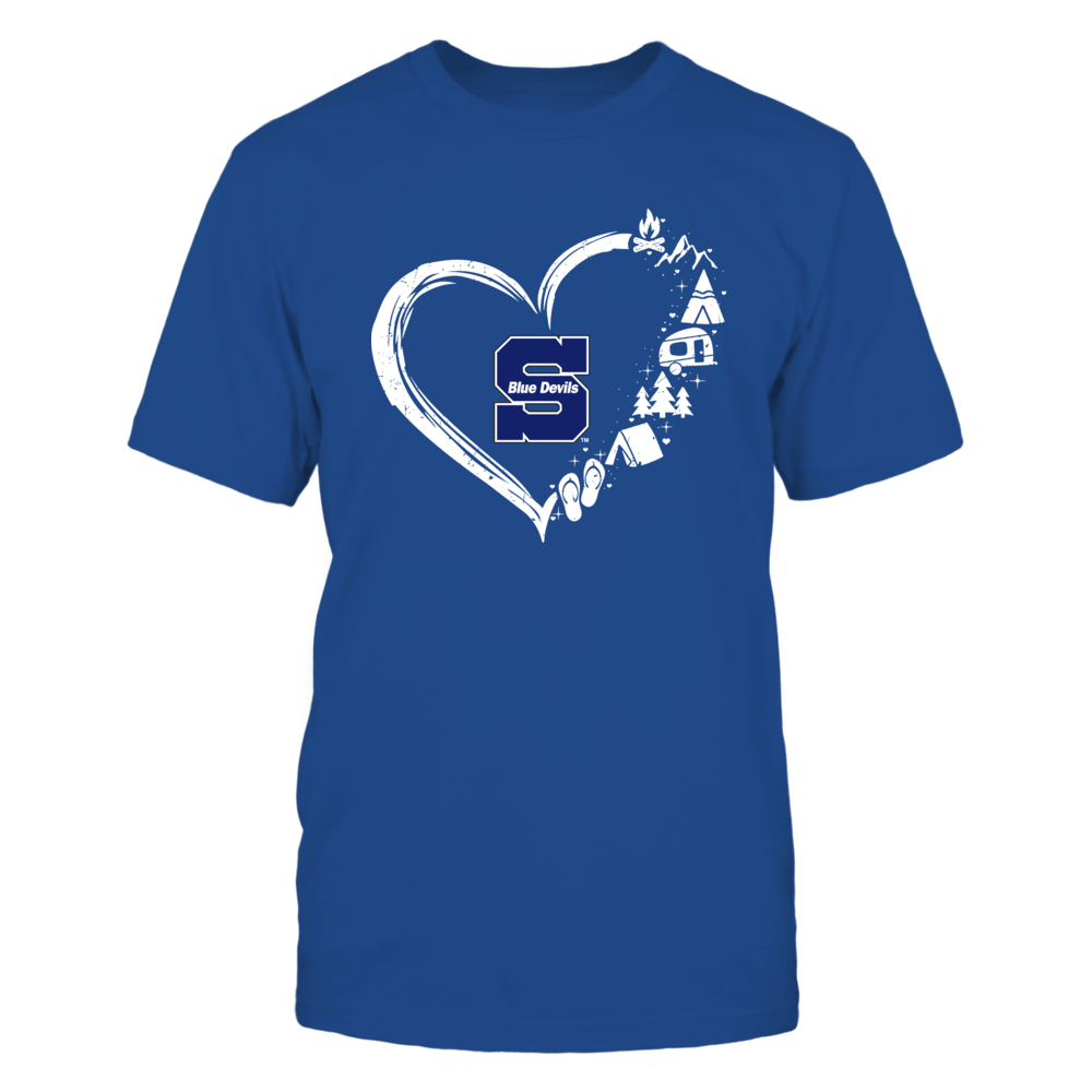 Wisconsin Stout Blue Devils - Camping Things - Heart Outline Front picture