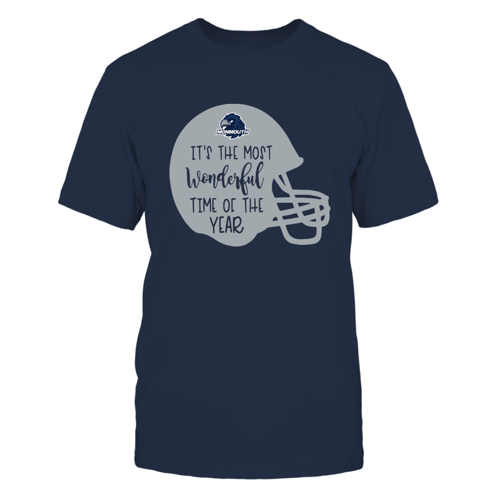 Monmouth Hawks - Most Wonderful Time of the Year - Football Helmet Front picture