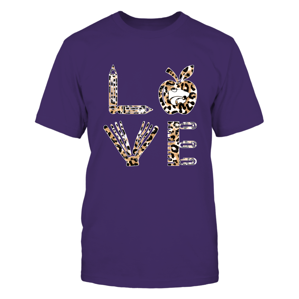 Kansas State Wildcats - Stacked Love - Leopard Teacher Things - IF17-IC17-DS37 Front picture
