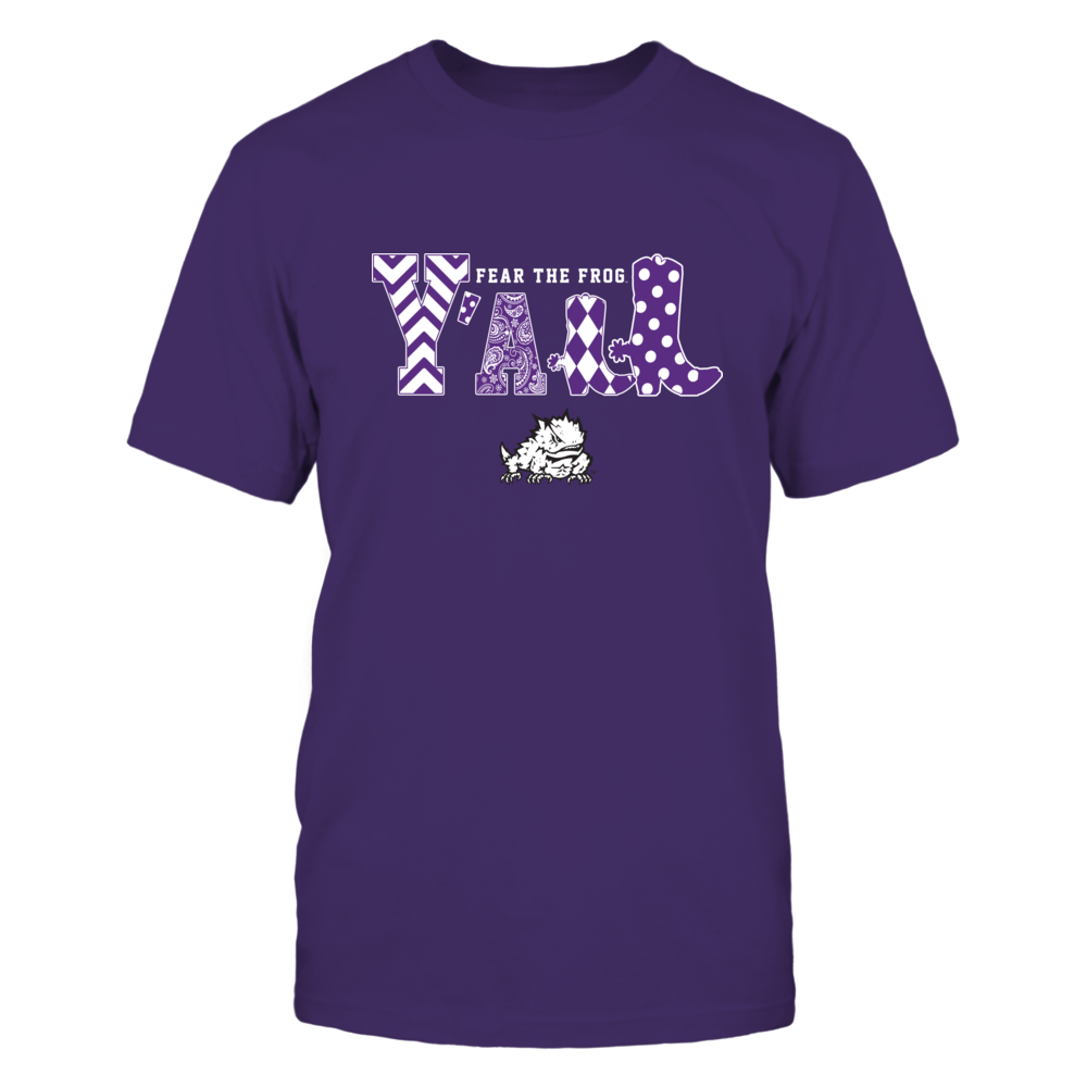 TCU Horned Frogs - Team Slogan - Y'all - Boots - Patterned  - IF13-IC13-DS63 Front picture