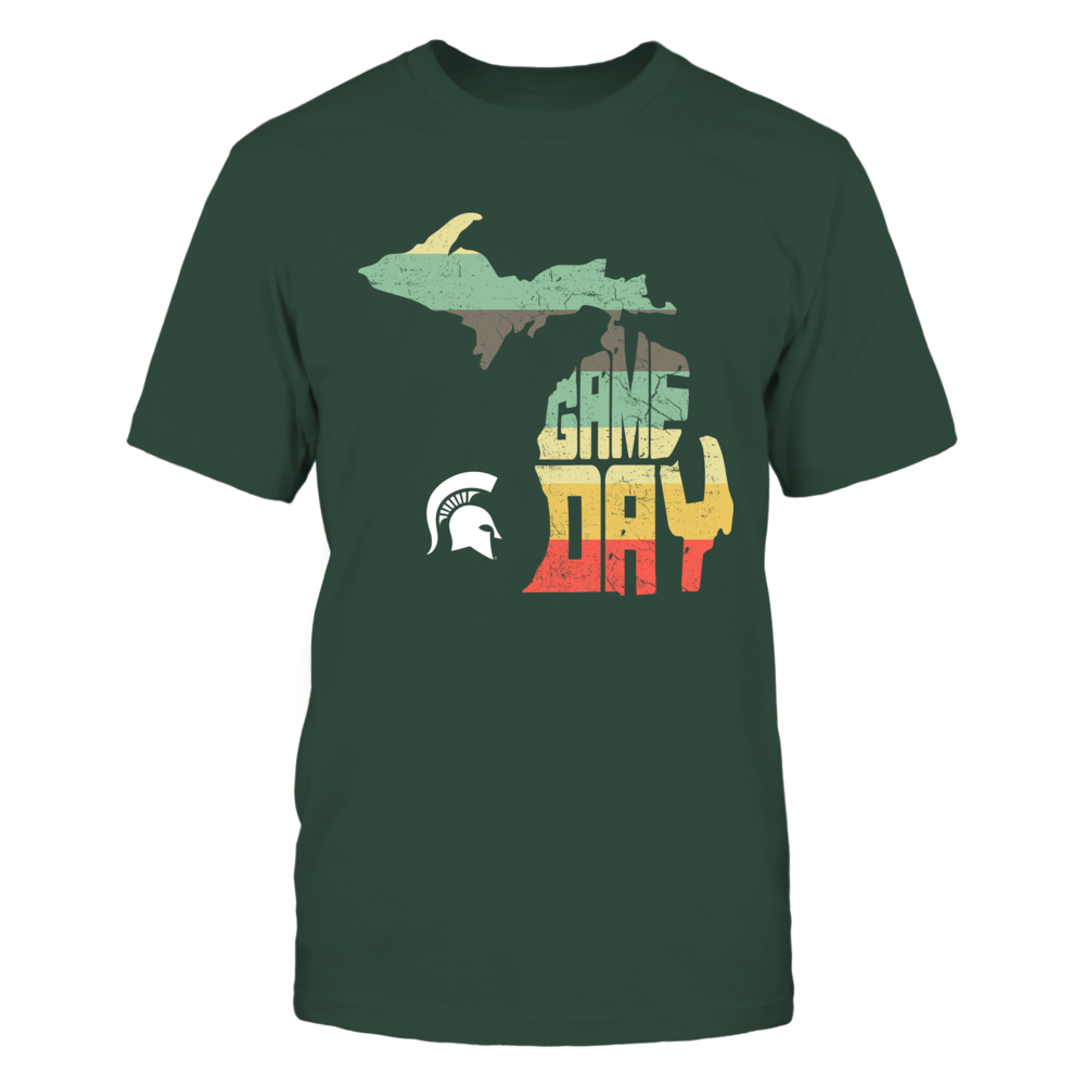 Michigan State Spartans - Game Day Inside State Map - Vintage Graphic - IF13-IC13-DS37 Front picture