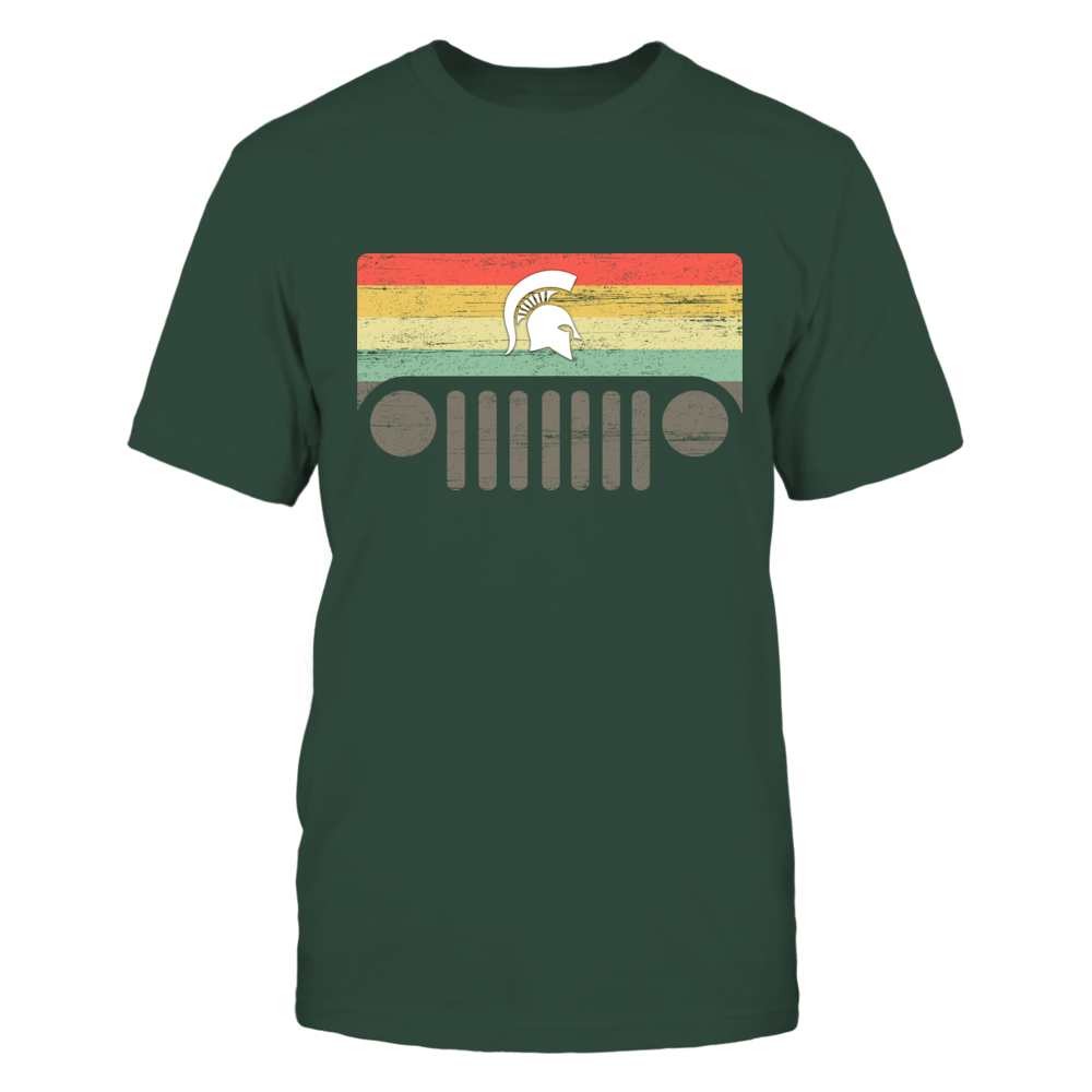 Michigan State Spartans - Jeep Logo - Nation Flag - Vintage Pattern - IF78-IC78-DS37 Front picture